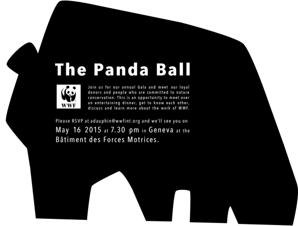 WWF Panda Ball invites. Back.